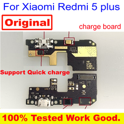 100% Port de Charge d'origine carte de circuit imprimé USB connecteur de Charge avec Microphone câble flexible pour Xiaomi Redmi 5 plus 5 plus MEG7 7A