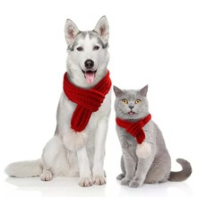 Newest Christmas pet dog cat winter warm knitted red scarf decoration Teddy