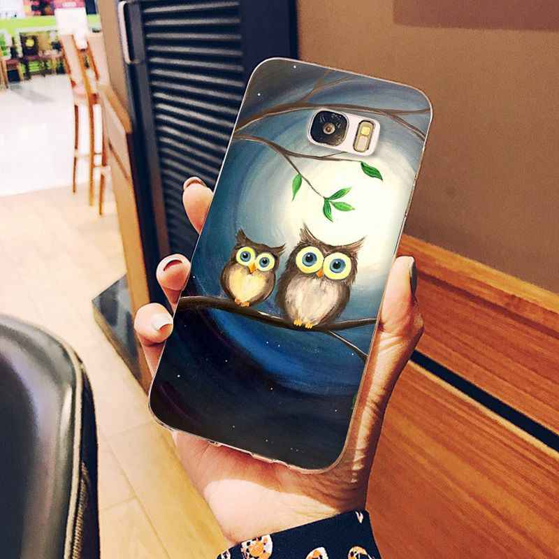 Cartoon cute animal owl Drawing Phone Case For Samsung Galaxy S6 S6edge Note3 4 5 note 7 8 note 9 10 note 10 Pro Cellphones