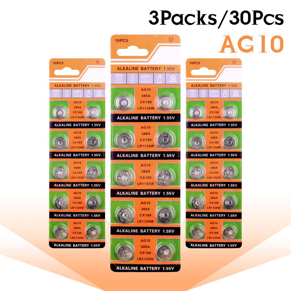 30 шт. AG10 щелочной аккумулятор монета Батарея LR54 LR1130V 10GA189 389 390 AG10 G10A SR1130 LR1130 390A D189 Кнопка Батарея для часов