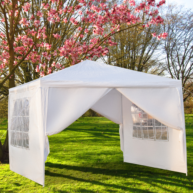 3 x 3m Single Tent Four Sides Portable Home Use Waterproof Tent with Spiral Tubes White