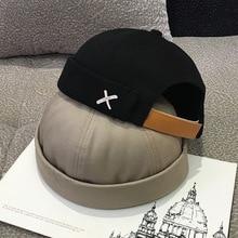Vintage Dome Hat Mens Solid Color Velvet Beanies For Men Docker Sailor Crimping Brimless Skull Caps Casual Hip Hop Cap