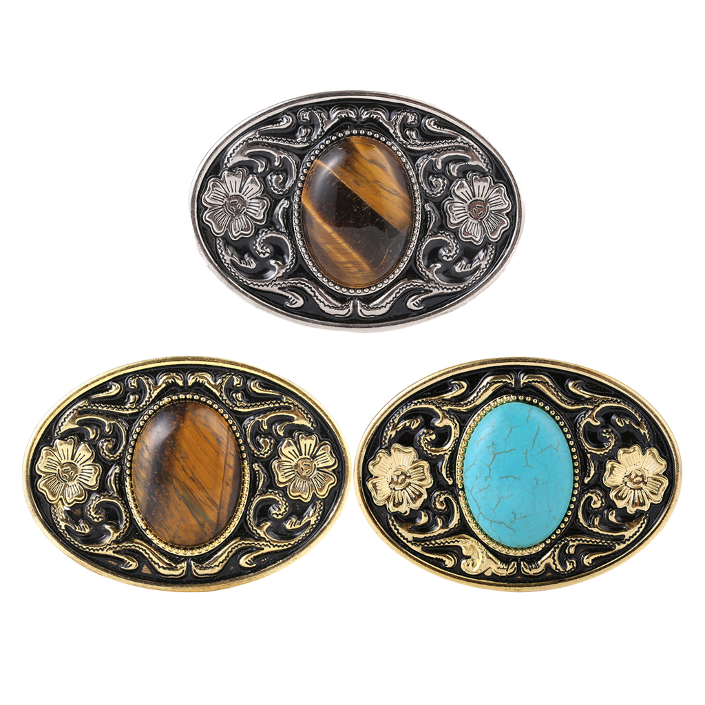 Mens Retro Style Belt Buckle Turquoise Stone Floral Pattern Buckle Accessory Belt Buckles