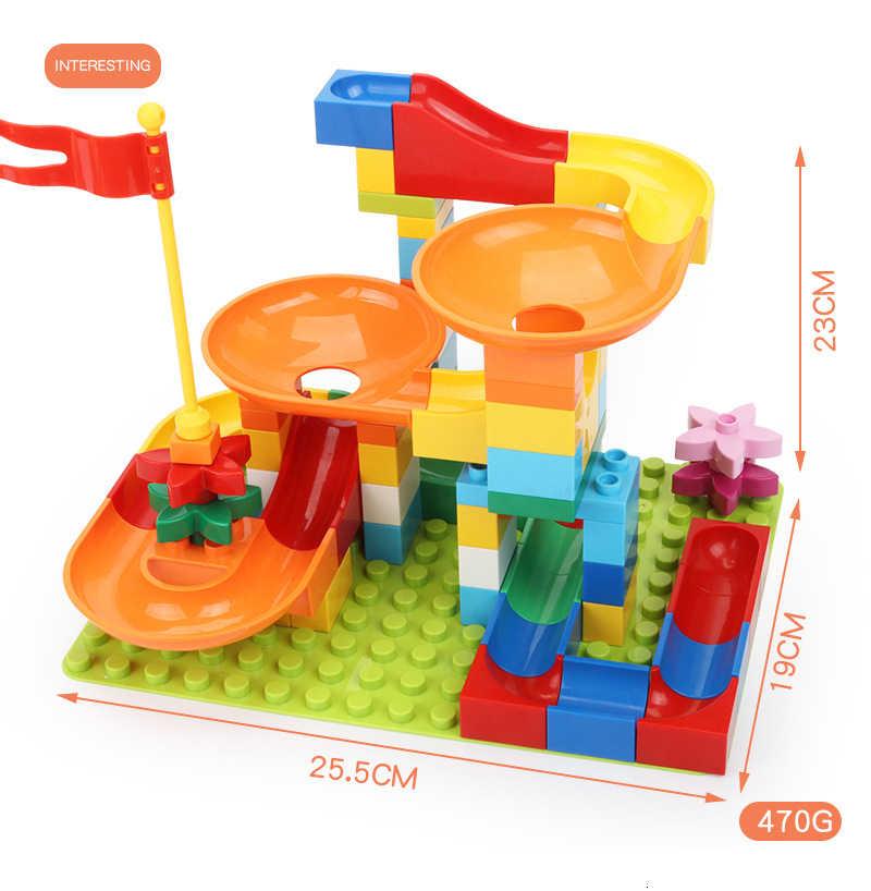 ขนาดใหญ่ช่องทางสไลด์บล็อกหินอ่อน Run MAZE Ball TRACK Building Blocks DIY ประกอบอิฐของเล่นสำหรับของขวัญเด็ก