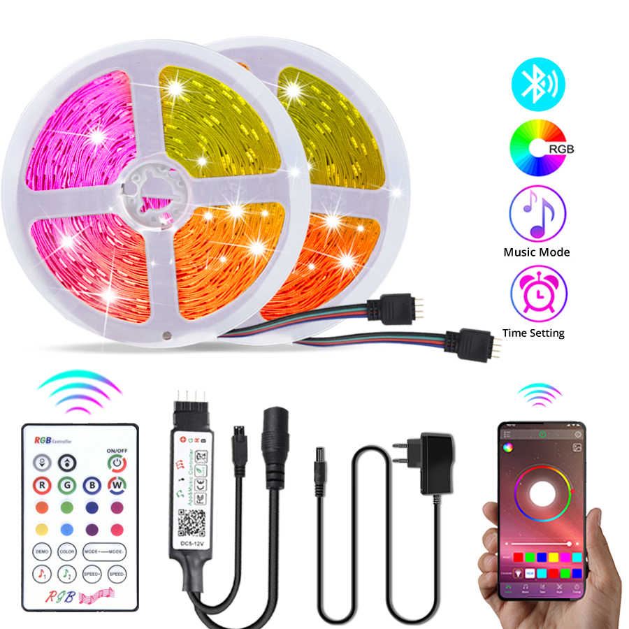 Tira de luces LED RGB 5050 con Bluetooth, tira de luces LED de colores, cinta de diodo de sincronización musical, 5M, 10M, 15M, 20M, decoración de dormitorio, DC12V con control remoto