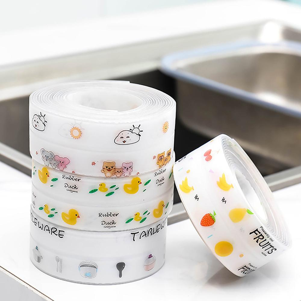 Acrylic plastic kitchen mildew transparent printing waterproof tape Self Adhesive Sink Kitchen Bathroom Shower Toilet Sealant