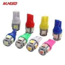 цена на 10pcs T10 LED W5W 5050 5SMD 192 168 194 LED Car Light Wedge Lamp Bulbs Super Bright White Lights DC 12V ice blue pink green red