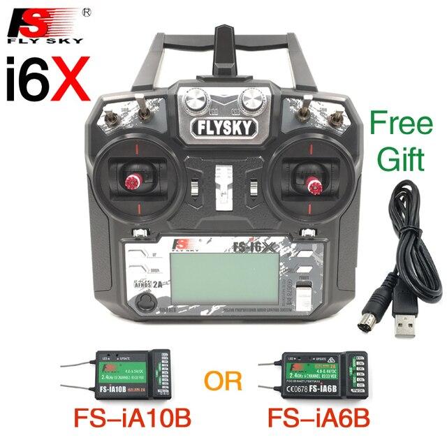 فلاي سكاي FS i6X FS I6X 10CH 2.4G RC الارسال تحكم مع iA10B iA6B A8S X6B استقبال ل RC هليكوبتر متعددة الدوار بدون طيار