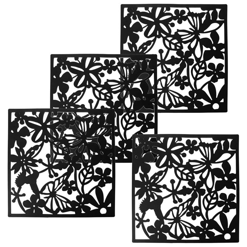 Moda 4 Pcs Borboleta Flor Pássaro Pendurado Sn Partição Painel Divisor De Quarto Cortina De Decoração de Casa Preto