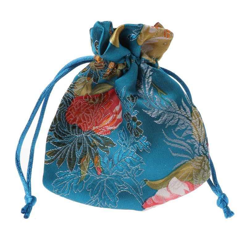 Clássico Chinês Flor Bordado Saco De Jóias Organizador Bolsa De Seda Tradicional