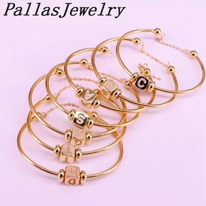 Image 1 - 6Pcs New Hight Quality Gold Color Metal Bangle Inlay Cubic Zirconia 26 Letter Spacer Bead Women Cuff Bangles Bracelets