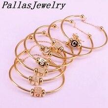 6Pcs Nieuwe Hight Kwaliteit Goud Kleur Metal Bangle Inlay Zirconia 26 Brief Spacer Bead Vrouwen Manchet Armbanden Armbanden
