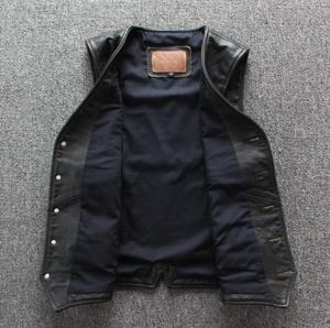Image 4 - Men Cowhide Genuine Leather Vest  Motorcycle Biker Leather Vests Mens Real Leather Vintage Casual Sleeveless Jackets Waistcoat