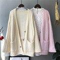 Woherb Mid-Lange Strickjacke Langarm Kausalen Pullover Mantel Elegante V-ausschnitt Jacke Mäntel Koreanische Strickjacken Pull Femme Koreanische