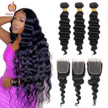 Human-Hair Closure Remy-Bundles Applegirl with Free/middle/three 4--4 Lace Loose Loose