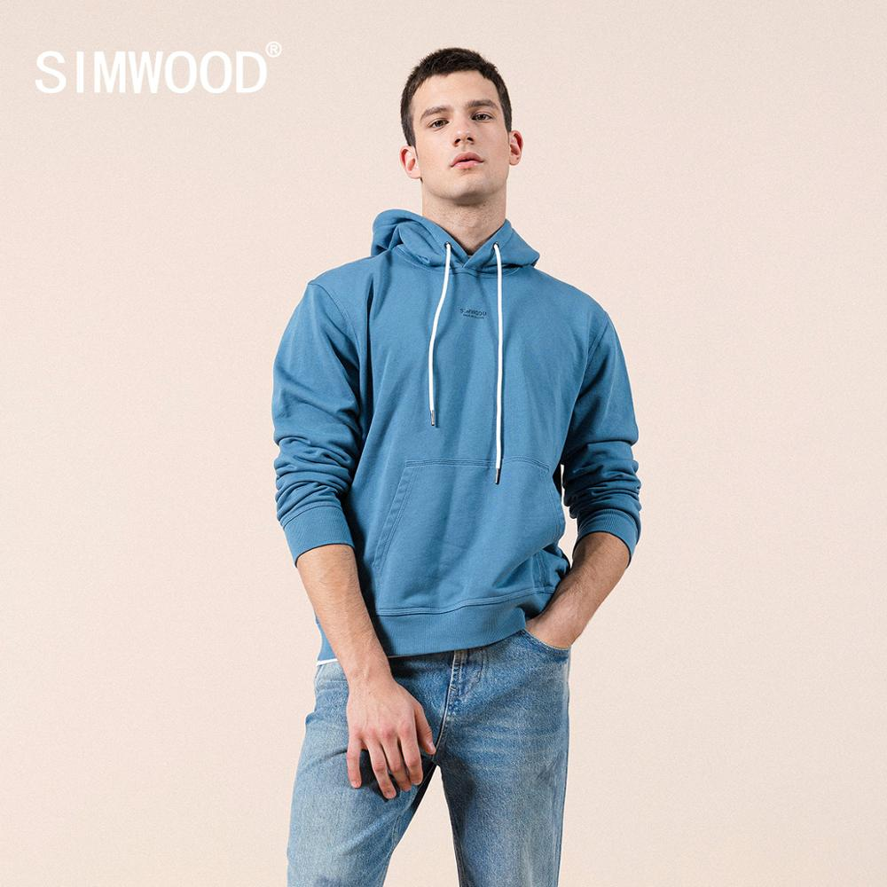 SIMWOOD 2020 Spring new hoodies men hooded logo print 100% cotton sweatshirt jogger tracksuits plus size brand clothing SJ12035