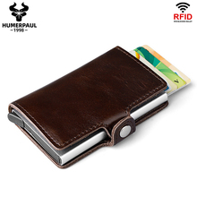 HUMERPAUL Rfid Leather Men Aluminum Wallet Casual Credit Card Holder Blocking Mini Magic Wallet Automatic Card  Coin Purse