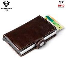 HUMERPAUL Rfid deri erkek alüminyum cüzdan rahat kredi kart tutucu engelleme Mini sihirli cüzdan otomatik kart bozuk para cüzdanı