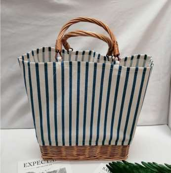 Striped canvas straw bag Large-capacity rattan bag portable woven Bucket  handbag Woman large shopping bag Summer Wicker Basket 1