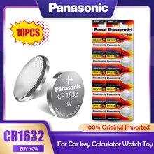 10 pces panasonic cr1632 cr 1632 3v li-ion bateria de lítio dl1632 br1632 ecr1632 gpcr para o brinquedo calculadora relógio botão pilha moeda