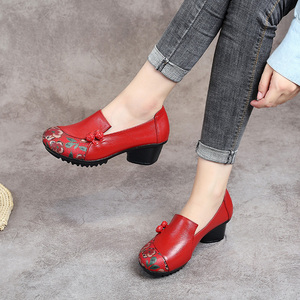 Image 3 - GKTINOO Spring Autumn National Style Women Pumps Printing Flowers Round Toe Genuine Leather Women Thick Heel Shoes Big Size 41