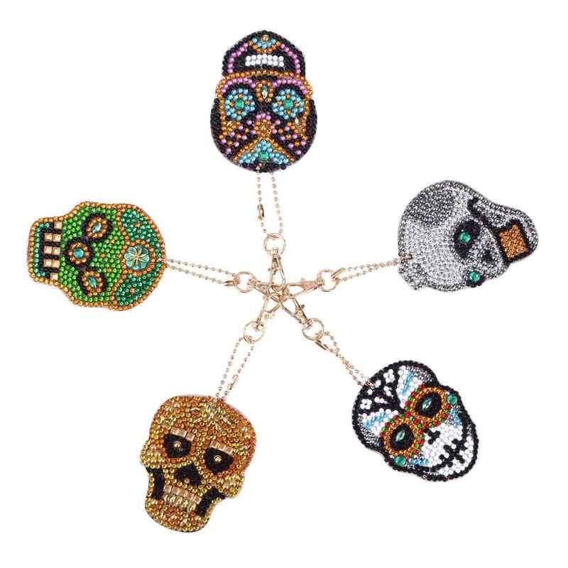 1-6 Pcs DIY Diamond Gantungan Kunci Penuh Bor Berbentuk Khusus Lukisan Berlian Gantungan Kunci Women Tas Liontin Perhiasan Gantungan Kunci bordir