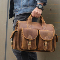 Men's Crazy Horse Leather Briefcase Fit 14 Laptop Fashion Genuine Leather Handbag Leather Business Bag Brown Work Tote