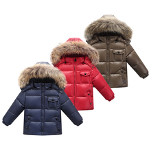 купить kids winter jacket children Parkas Coat With Hood For Girls boys Warm Thick Down Jackets Kids Hooded Warm Real Fur Collar Coats в интернет-магазине