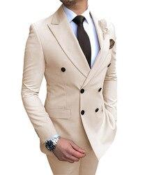 Новинка 2020, бежевый мужской костюм, 2 предмета, двубортный, с отворотом, на плоской подошве, приталенный, Повседневный, королевский синий смо...