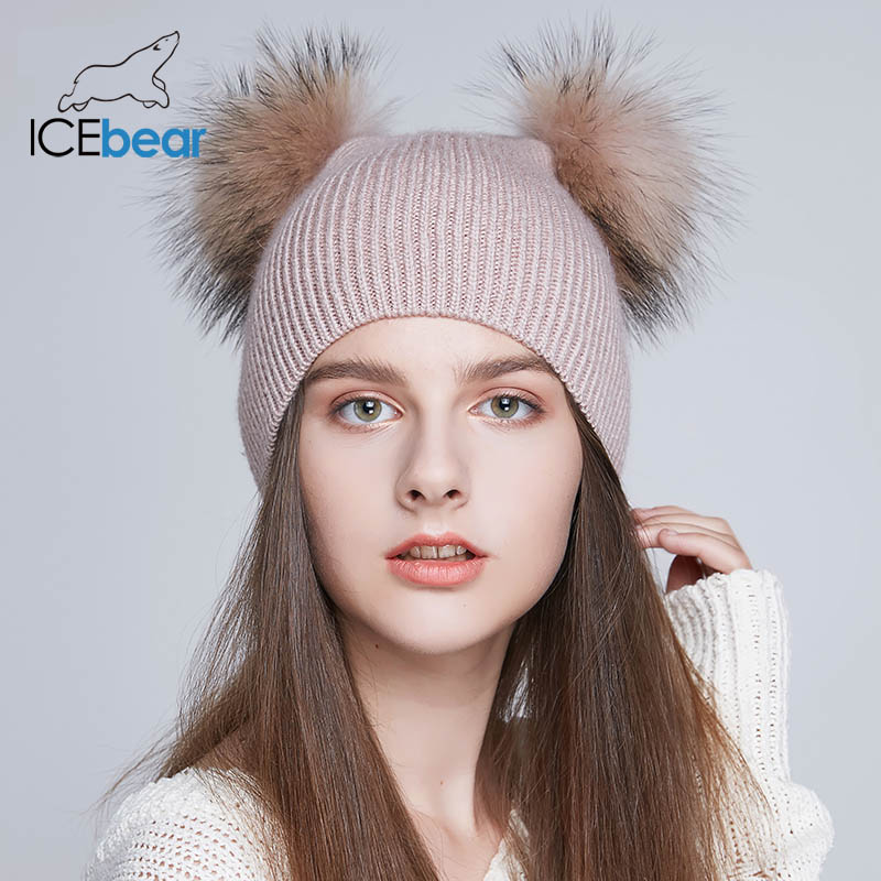 ICEbear Soft Women's Winter Hats Double Real Fur Pompom Beanies Warm Cute Girls Cap New Arrival E-MX18118Q