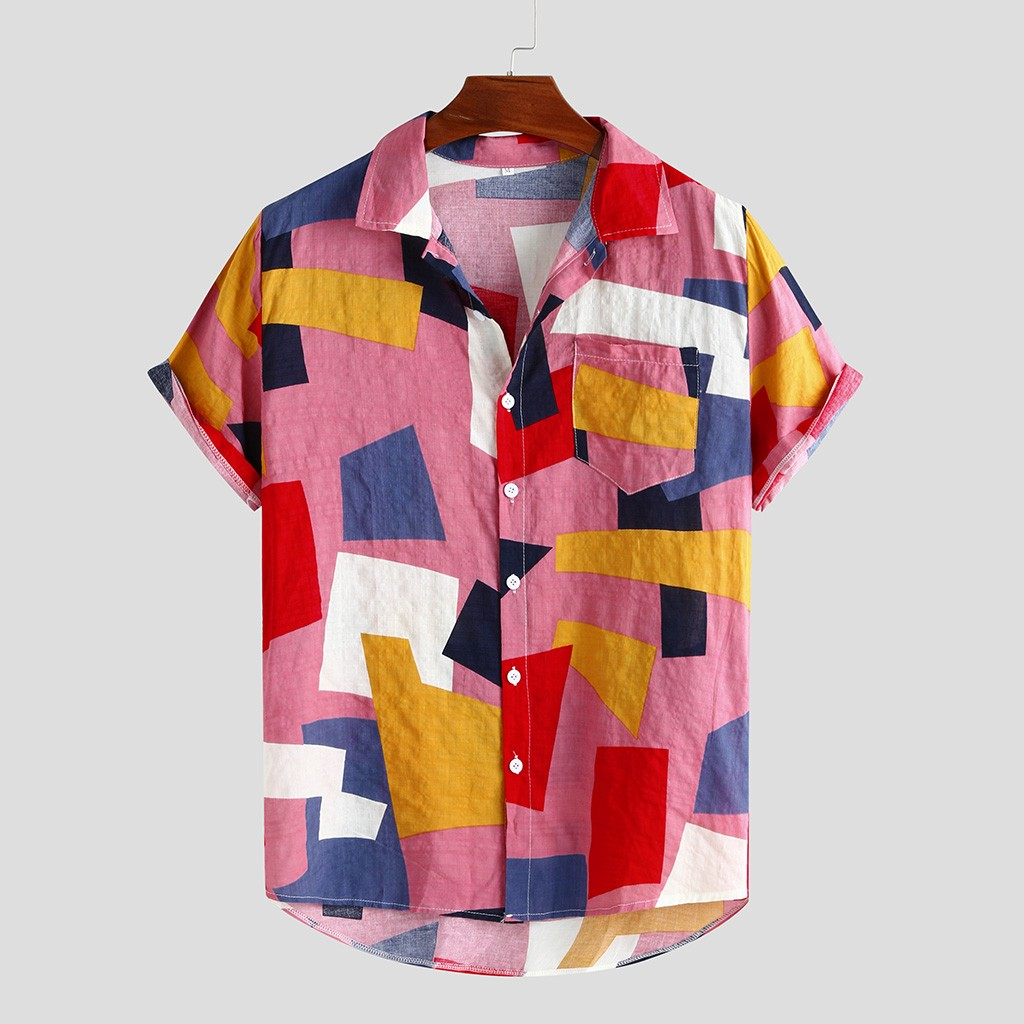 Summer Mens Shirts Hawaiian Fashion Plaid Printed Loose Short Sleeve Buttons Casual Tops And Blouse Chemise Hawaiienne