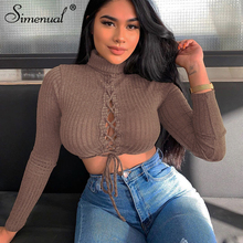 Simenual Ribbed Lace Up Sexy Autumn Crop Top Women Fashion 2019 Long Sleeve Hollow Out T Shirts Solid Basic Slim Turtleneck Tees цена 2017