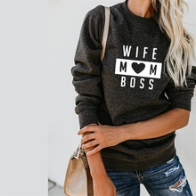 WIFE MOM BOSS Letters Print Crew Neck Hoodies For Women Kawaii Tops Hoody Cotton Loose Female Street Thick Sweet