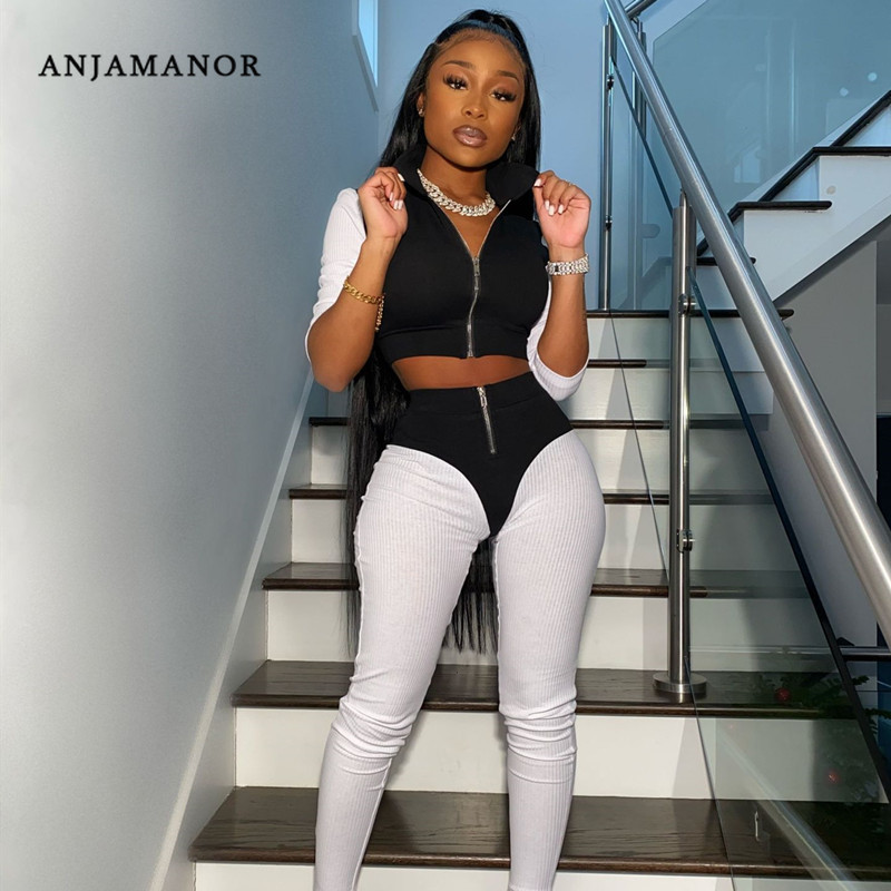 ANJAMANOR Sexy Rib Knit Tracksuit Women Two Piece Bodycon Outfits Fitness Sports Casual Sweat Suits Spring 2020 D48-AG32