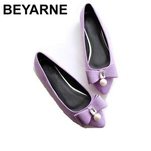 Image 1 - BEYARNE2019 zapatos planos de perlas para mujer, zapatos náuticos coreanos, zapatos de cristal para mujer, de talla grande, zapatos cómodos para womenE1146