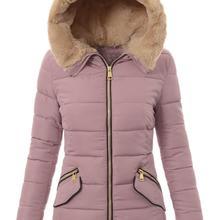 Genuo New 2020 Women New Full Sleeve Hooded Parka Pockets Zippers Slim Winter Wa