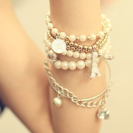 Korean version Multi-element Eiffel Tower Pearl Vintage Bracelet Coin Six-piece Jewelry Multi-layer Bracelet