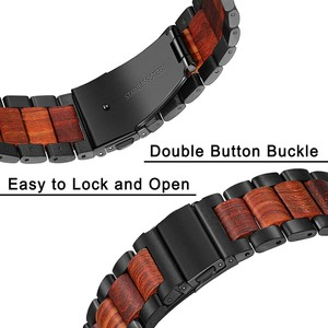Image 4 - טבע עץ & נירוסטה רצועת השעון עבור iWatch אפל שעון סדרת 5 4 3 2 1 44mm 42mm 40mm 38mm אדום אלמוג להקת רצועה