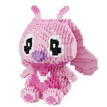 1350pcs Pink Stitch Block Diamond Micro Stitch Cartoon Block Spell Insert Assembly Cartoon Model Toys for Children Gifts