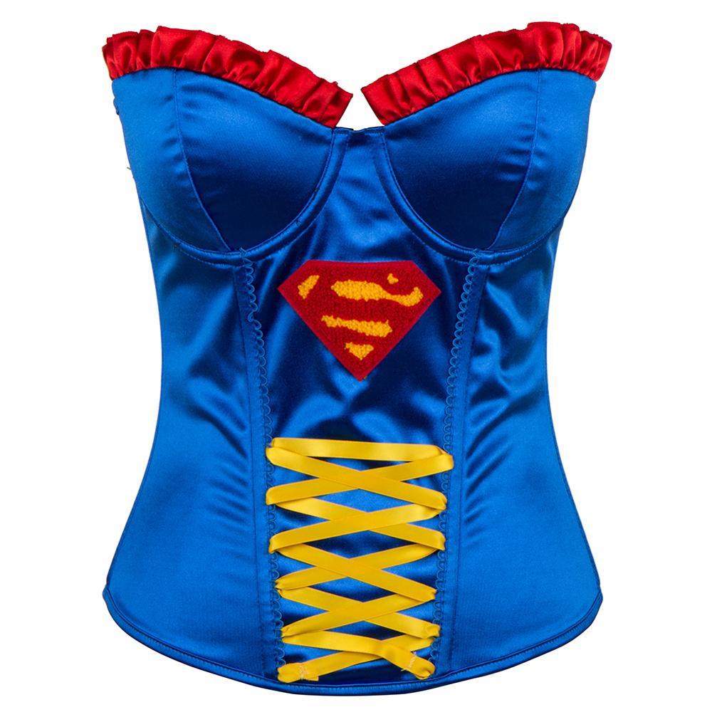 Blue Satin Superhero Halloween   Bustiers     Corset   Sexy Femme Burlesque Costumes Fashion Korsett For Women Push Up Party Clubwear