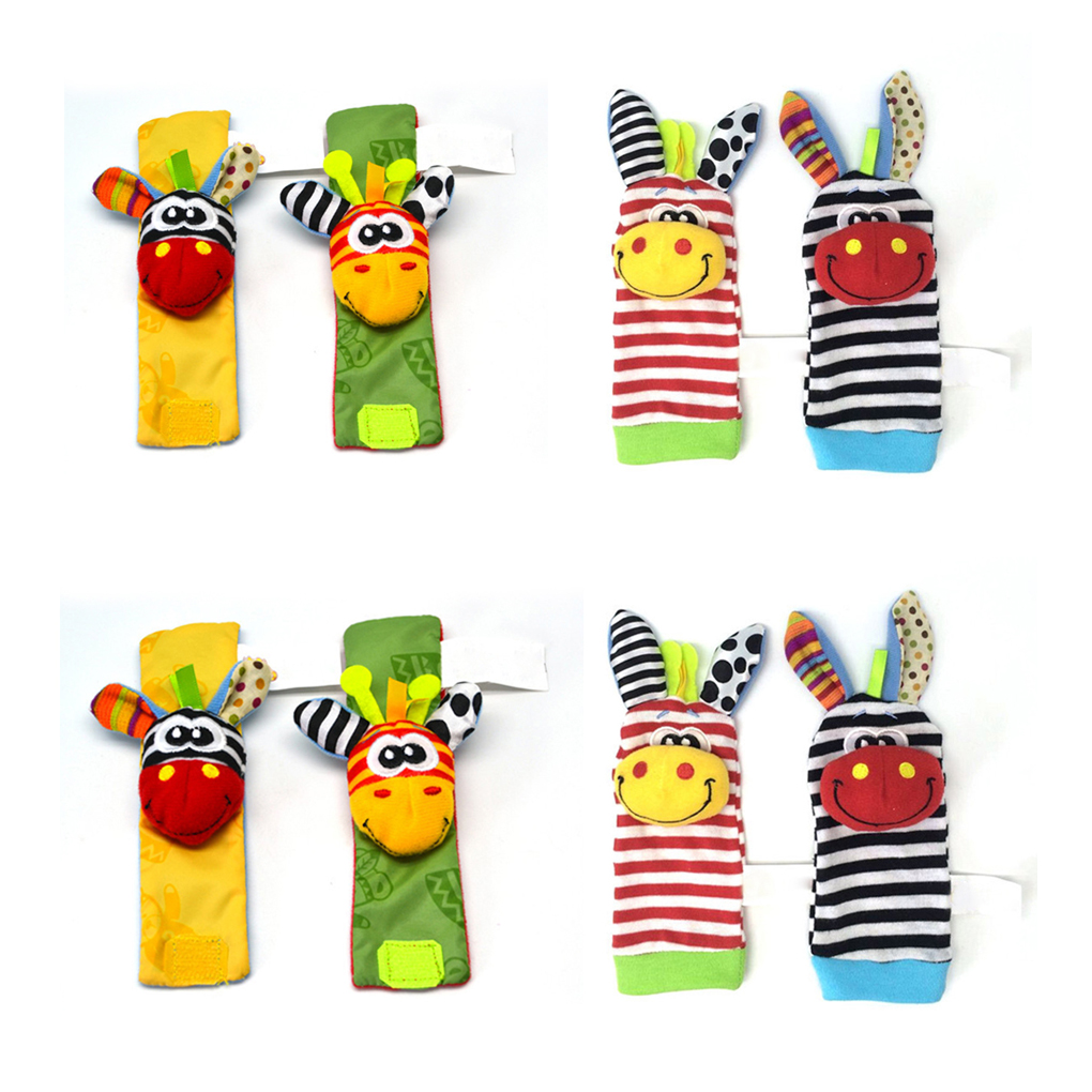 2pcs/set Funny Baby Socks For Newborn With Baby Hand Rattle Stuffed Animal Socks Color Traning For Infant Toddler Newborn Socks