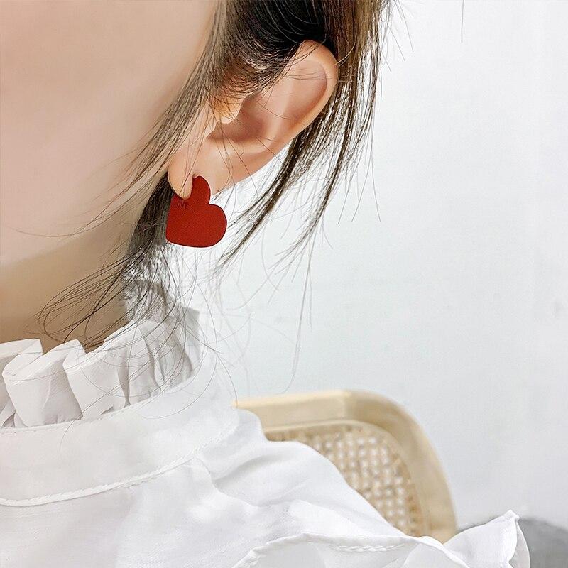 AENSOA 2019 Vintage Women Heart Shape Cute Drop Earrings New Fashion Red Color Love Heart Statement Small Earrings For Women