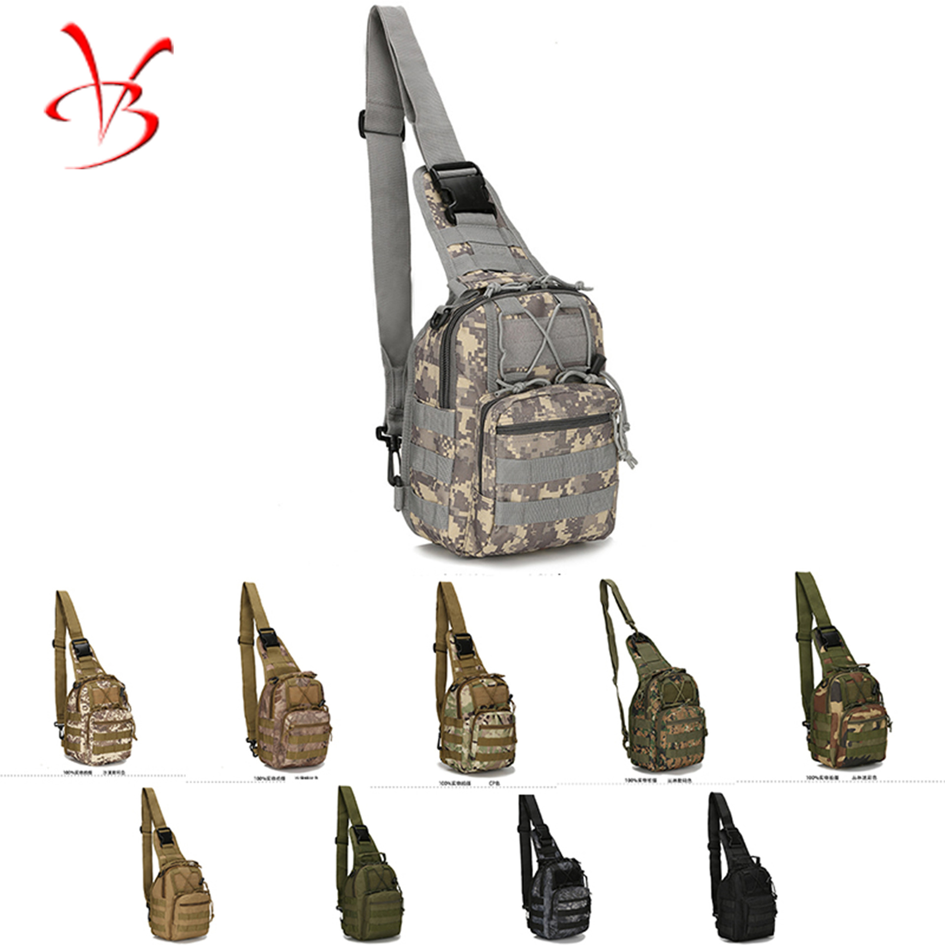 Men Small Chest Bag Riding Shoulder Bag Army Camouflage Tactical Chest Pack Outdoor Mountain Climbing Portable Shoulder Bag Manu