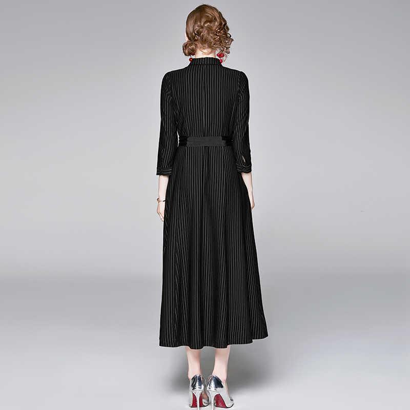 VERHELLEN High Quality Fashion Brand Runway Dress 2019 Autumn Women 3/4 Sleeve Stripe Print Belt Office Lady Elegant Long Dress