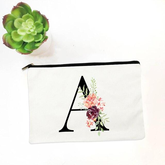 Bridesmaid Makeup Bag Flowers Alphabet Printed Canvas Storage Bag Cosmetic Bags for Bride Bridesmaid Proposal Gift 5