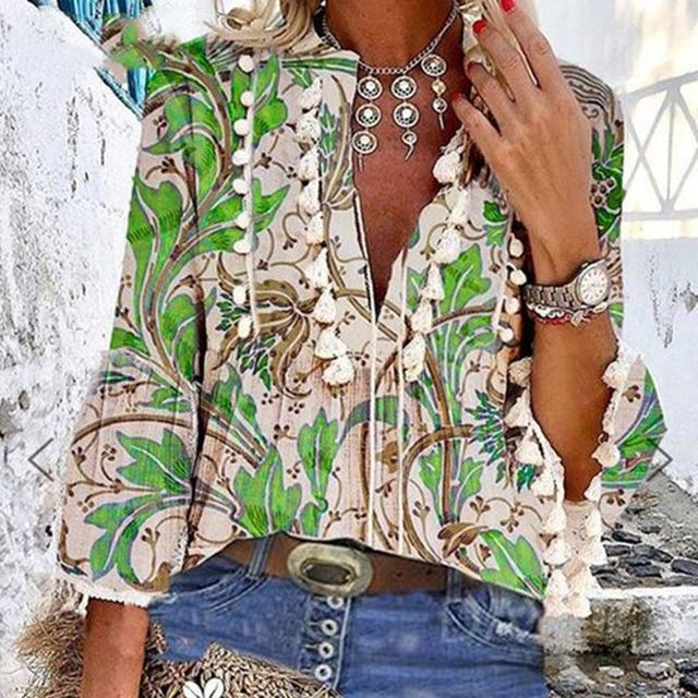 Boho Blouse Elegant V Neck Tassel Women Tops Sexy Three Quarter Sleeve Floral Print Shirt 2020 Spring Autumn Chic Blouses S-2XL 2