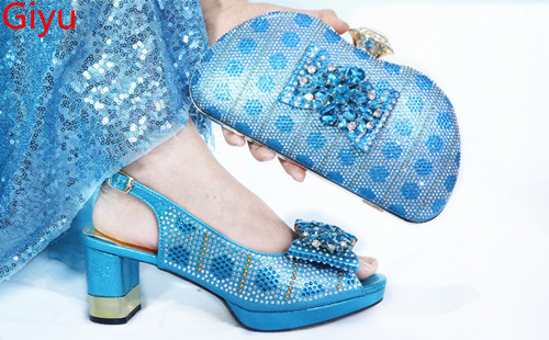 Doershow  Italian Shoes With Matching Bags Set Italy African Women's Party Shoes And Bag Sets Sky Blue Color Women Shoes!SMK1-8