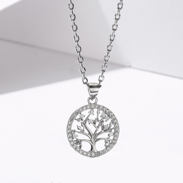 Sodrov Authentic 925 Sterling Silver DIY Life Tree Necklace Ladies Nature Lucky Jewelry Pendant Link Charm