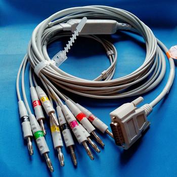 Kompatybilny dla Nihon kohden 9010 9020 9620 kabel ekg z 10 ekg przewody odprowadzeń ekg kabel DB 15pin do banana 4 0 z 10K rezystor tanie i dobre opinie PMSOEHT NONE CN (pochodzenie) Męski-męski E001 Electronic