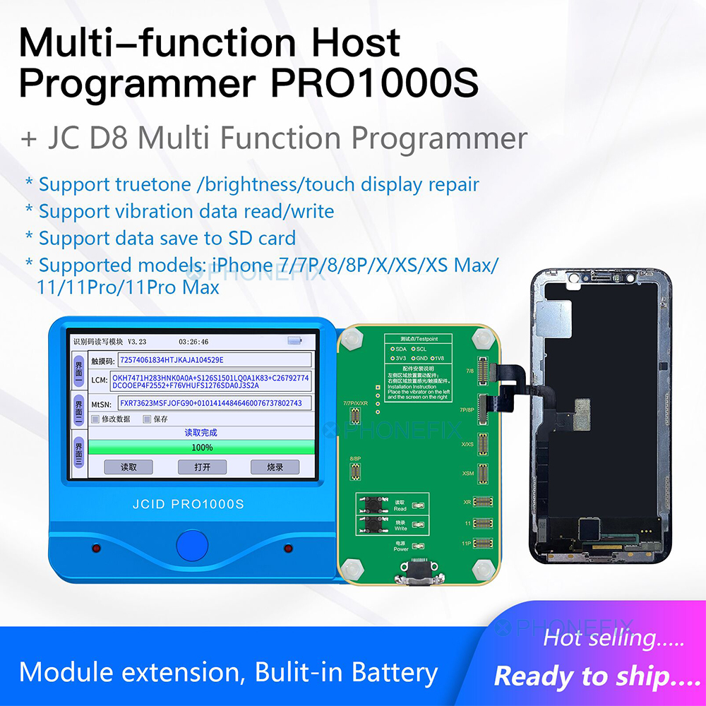 MAX iPhone Programmer X Module PRO MAX 7P LCD XS 8 11  Pro1000s Screen 8P 7 Light JC Data  Sensor Read Photosensitive Write for
